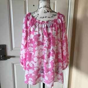Chaps Semi-Sheer Pink and White Floral Blouse